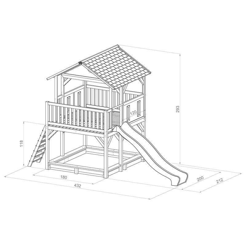 Afmetingen houten speelhuis Simba