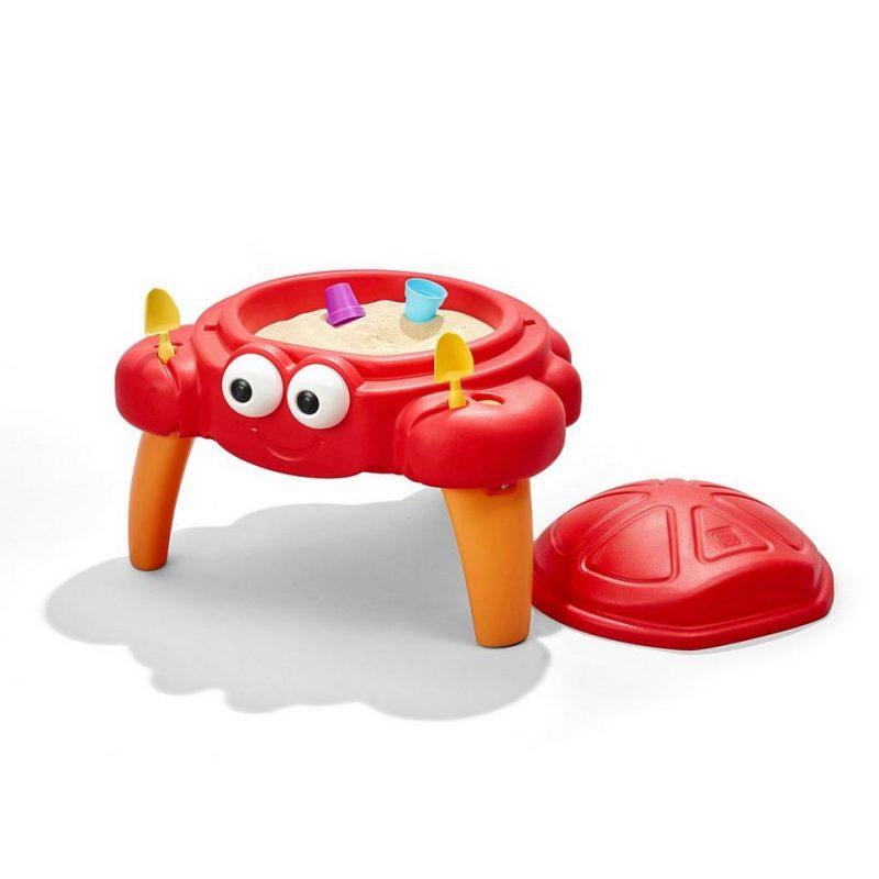 Crabbie zandtafel krab Step 2 met speelgoed in de scharen