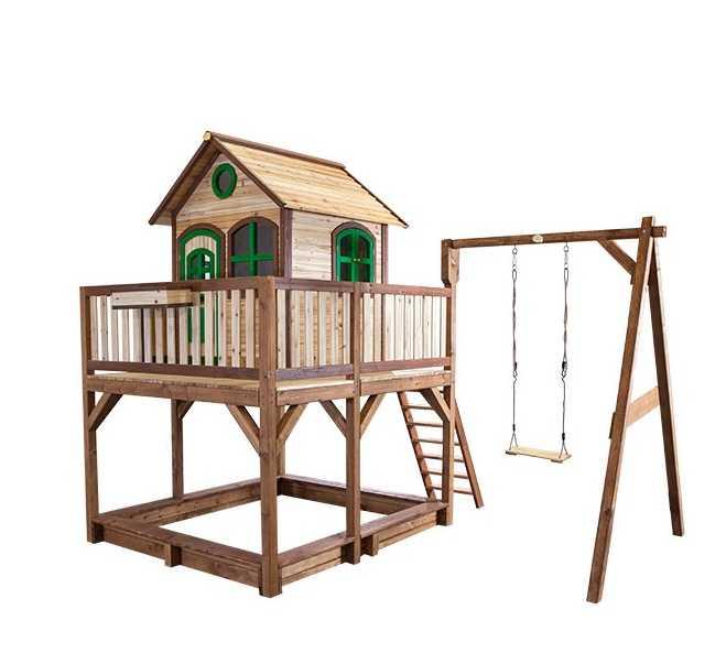 Liam houten speelhuis met schommel glijbaan en zandbak