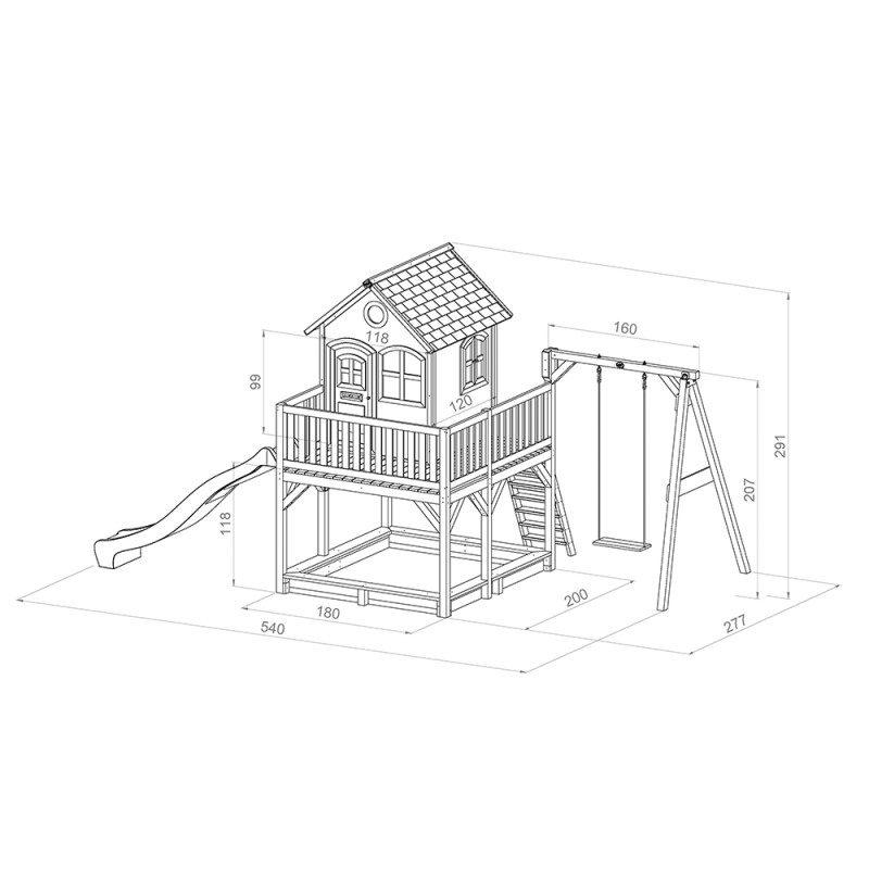 Liam houten speelhuis met schommel glijbaan zandbak afmetingen