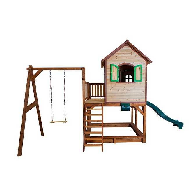 Liam houten speelhuis met schommel glijbaan zandbak