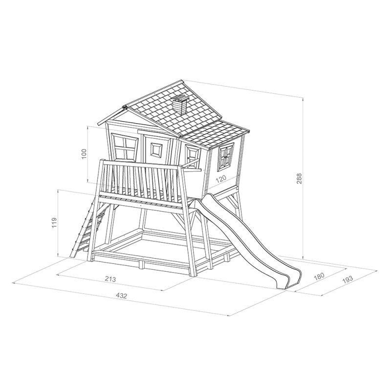 Scheef speelhuis Max met glijbaan en zandbak afmetingen