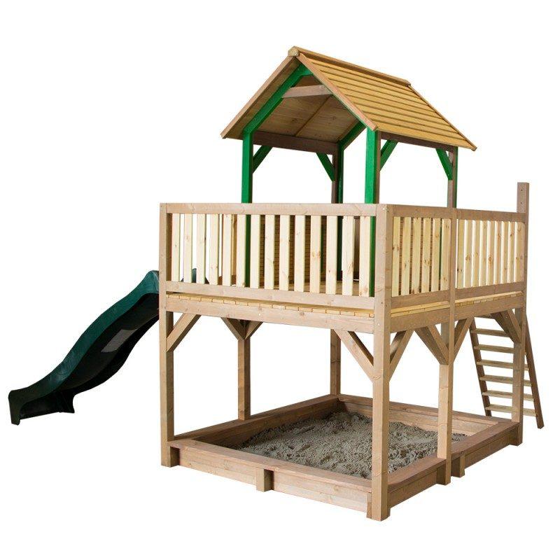 Hedendaags Atka speelhuisje | Houten speelhuisje op palen | Glijbaan & zandbak XS-26