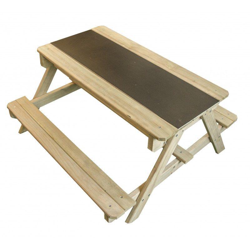 Sunny Dual Top picknicktafel - Houten zand en watertafel met krijtbord - krijtbord