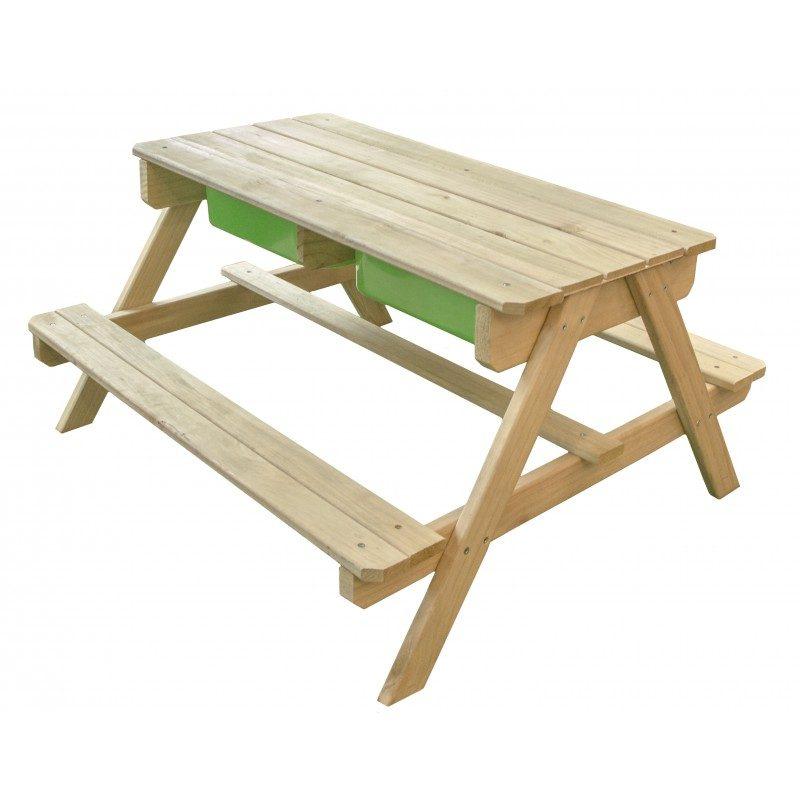 Sunny Dual Top picknicktafel - Houten zand en watertafel met krijtbord - picknicktafel