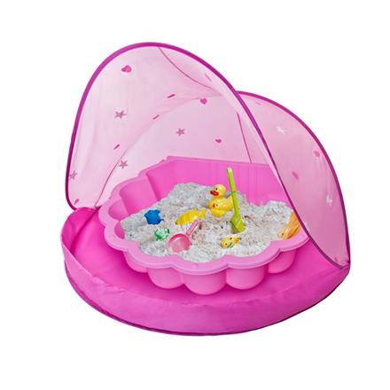 zandbak schelp met speeltentje roze